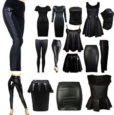 LADIES WET LOOK LONG SLEEVE PVC LEATHER DRESS WOMEN BODYCON TUNIC TOPS