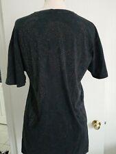 Affliction Mens M Black Angel Wings skull studded Short Sleeve T-Shirt