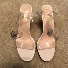 EGO OFFICIAL Women's Perspex Clear Nude High Heel Mules Size 7 Brand New