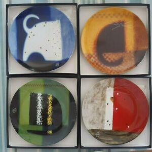 GOVINDER NAZRAN ROYAL WORCESTER PLATES. SET OF 4 CATS DESIGN 2004