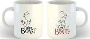 Beauty and The Beast Set of 2 Mugs In white Box UK Gift Valentines