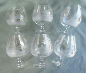 6 FINE BRANDY SNIFTERS WITH ENGRAVED WILDLIFE POSS. ROWLAND WARD MOSER