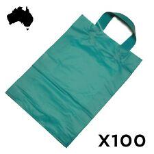 100 Blue COLOURED Plastic Flexi Loop Handle Bag CARRY HANDLES Bags 55 Micron