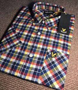 Lyle And Scott Gingham Shirt Medium Yellow Blue