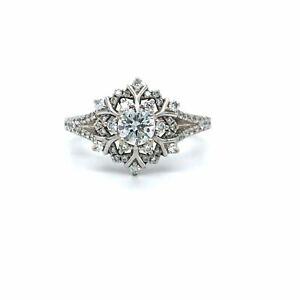 Disney Enchanted Elsa Diamond Snowflake Ring 14k White Gold Sz 5.25