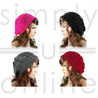 Ladies Winter Warm Stylish Beanie Knitted Hat Crochet Slouch Baggy Beret Hat Cap