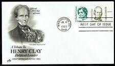 Us 1846 Henry Clay Great Americans July 13 1983 Art Craft Fdc F1846-2