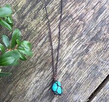 Boho turquoise howlite handmade necklace hippy ethnic pendant bohemian gift