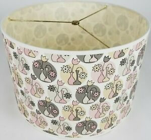 """NEW Drum Lamp Shade 15"""" Dia 10"""" H Contemporary Flower Vases Yellow Pink Fabric"""
