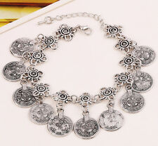 2016 Women Silver Jewelry Bohemian Ethnic Vintage Silver Coin Bracelet Chain