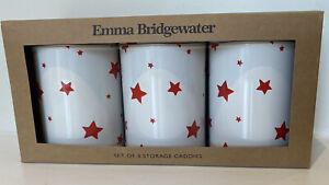 Set Of 3 Emma Bridgewater Red Star Storage Caddies-Brand New