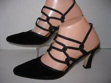 "Ann Marino womens 7 1/2m black velvet 3 1/4""heel dressy -strappy"
