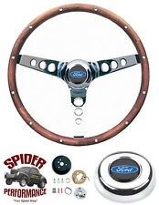 "1965-1969 Fairlane Galaxy 500 T-Bird steering wheel BLUE OVAL 13 1/2"" WALNUT"