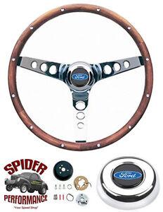 "1965-1969 Fairlane Galaxy 500 T-Bird steering wheel BLUE OVAL 13 1/2"" WALNUT"