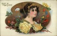 Beautiful Woman Roses Flowers Gold Artist Palette Border c1910 Postcard