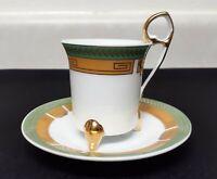 Vintage Porcelain Demitasse Espresso Footed Tea Cup & Saucer Green Gold