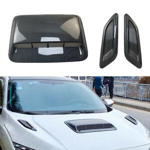 3PCS Universal Car Decorative Air Flow Intake Hood Scoop Vent Bonnet Cover