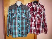 NWT NEW mens aqua blue gray red black plaid ROCK & REPUBLIC western shirt $50
