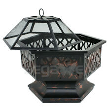 Wood Burning Fire Pit Bowl With Lattice Hex Shaped Outdoor Free Shipping New