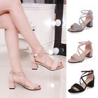 Ladies Women Fashion Summer Open Toe Chunky Mid Heel Ankle Strap Sandals Shoes
