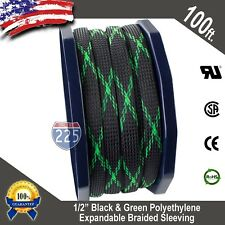 """100 FT 1/2"""" Black Green Expandable Wire Sleeving Sheathing Braided Loom Tubing"""