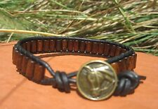 Unisex Mens Brown Wood Beads Sports  Black Leather Bracelet Horse Button