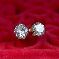 18k yellow gold made with Swarovski crystal round stud 925 silver earrings 4mm