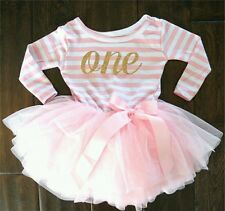 BABY GIRLS1st First BIRTHDAY PARTY DRESS Tutu Ballet PINK Outfit cake  9-12m L