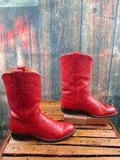Ladies Justin Red Leather Roper Western Boots Size :5 B