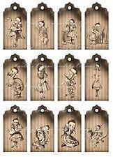 Christmas Alice in Wonderland scrapbooking tags grunge crafts set of 12