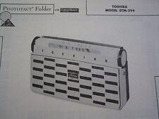 TOSHIBA 8TM-294 TRANSISTOR RADIO PHOTOFACT