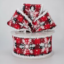 """2.5"""" GLITTERED SNOWFLAKE BUFFALO PLAID CHECK WIRED RIBBON *MORE ON THE WAY*3 YDS"""