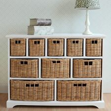 Large Chest of Drawers W 10 Wicker Baskets Stylish Bathroom Hallway Storage Unit