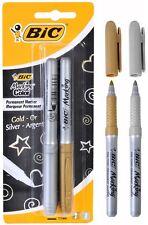 BIC marcado marcador Permanente Punto Fino Pluma De Oro Y Plata Tinta Pack 2 un.