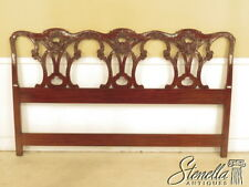 40802: King Size Chippendale Design Carved Mahogany Bed Headboard ~ New