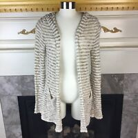 MOTH Anthropologie XS Beige Gold Marled Knit Open Hooded Kimono Cardigan Sweater
