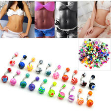 ebbeb1aa24dd Set of 50pcs Wholesale Belly Button Navel Rings 14g Mix Color Stainless  Barbell