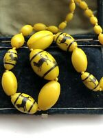"Antique Art Deco Canary Yellow Glass Beaded Necklace Black Cat Design 27"" Long"