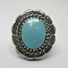 Shape Side Stones Design Ring Siz Sterling Silver Turquoise Oval Stone Oval Ring