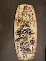 """RARE Capodimonte Porcelain HandPainted Floral Large GORGEOUS Wall Hanging 20"""""""