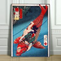 "Japanese SAITO - Oniwakamaru on a Carp - CANVAS ART PRINT POSTER - Fish - 12x8"""