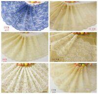 Delicate Blue/Beige/White 1 yard Elastic/Spandex Soft Flower Floral lace trim 16