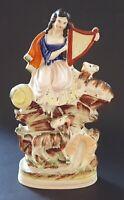 Staffordshire vintage Victorian antique woman with harp flatback figurine
