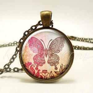 Bohemian Butterfly Necklace, Gypsy Pendant, Hippy Jewelry (1891B1IN)