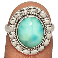 Genuine Larimar - Dominican Republic 925 Silver Ring s.7 AR211504  XGB