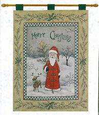 Merry Christmas Folk Santa and Reindeer Tapestry Wall Hanging