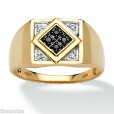 MENS 10K GOLD ROUND CUT  BLACK AND WHITE DIAMOND RING SIZE 8,9,10,11,12,13
