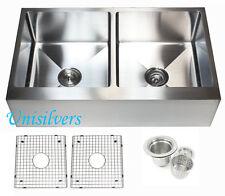 """36"""" 15mm Radius Stainless Steel Farmhouse Apron Double Bowl Kitchen Sink"""