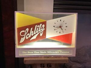 Schlitz Brewing lighted Beer Sign with Clock Vintage 1955 works great