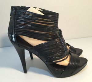 Women's Size AU 10 / EUR 41 Open Toe Strings Detail & Back Zip Closure Platform